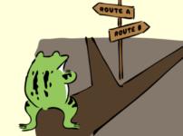 岐路に立つカエルのイラスト